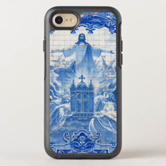 Coque OtterBox Symmetry iPhone 8/7 Mosaïque bleue de tuile de Jésus, Portugal