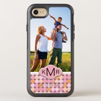 Coque OtterBox Symmetry iPhone 8/7 Pois rose et orange de photo et de monogramme