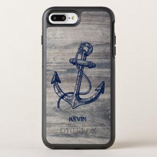 Coque OtterBox Symmetry iPhone 8 Plus/7 Plus Ancre bleue de minuit de bateau sur la texture en