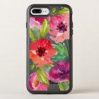 Coque OtterBox Symmetry iPhone 8 Plus/7 Plus Fleurs roses et pourpres d'aquarelle
