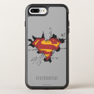 Coque OtterBox Symmetry iPhone 8 Plus/7 Plus Logo cassé en métal du S-Bouclier | de Superman