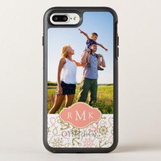 Coque OtterBox Symmetry iPhone 8 Plus/7 Plus Monogramme d'or de l'ancre Pattern|