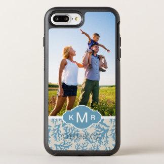 Coque OtterBox Symmetry iPhone 8 Plus/7 Plus Motif de corail bleu | votre photo et nom