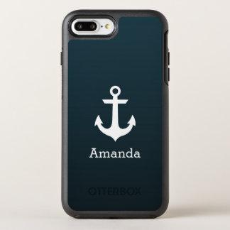 Coque OtterBox Symmetry iPhone 8 Plus/7 Plus Nom bleu d'Ombre d'ancre blanche nautique