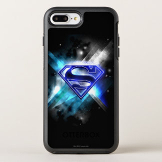Coque OtterBox Symmetry iPhone 8 Plus/7 Plus Superman a stylisé le logo en cristal blanc bleu