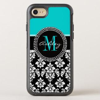 Coque Otterbox Symmetry Pour iPhone 7 Damassé Girly de noir d'Aqua votre nom de
