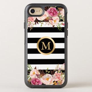 Coque Otterbox Symmetry Pour iPhone 7 Le blanc noir floral Girly barre le nom initial