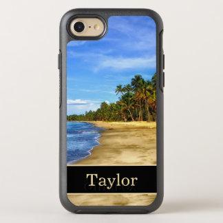 Coque Otterbox Symmetry Pour iPhone 7 Monogramme de plage d'île avec le nom