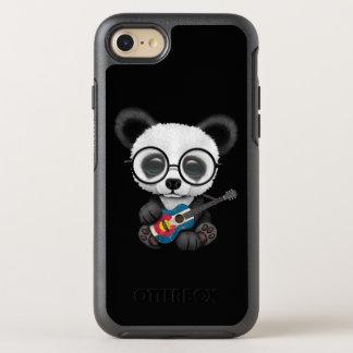 Coque Otterbox Symmetry Pour iPhone 7 Panda de bébé jouant la guitare de drapeau du