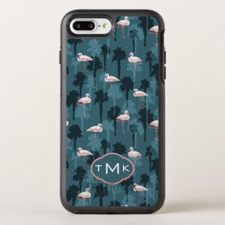 Coque Otterbox Symmetry Pour iPhone 7 Plus Flamants en pastel sur le monogramme de Teal |
