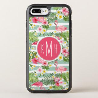 Coque Otterbox Symmetry Pour iPhone 7 Plus Flamants et monogramme des rayures |