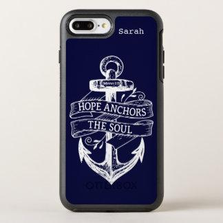 Coque Otterbox Symmetry Pour iPhone 7 Plus L'espoir blanc de bleu marine ancre la citation