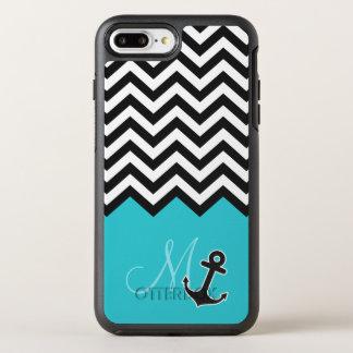 Coque Otterbox Symmetry Pour iPhone 7 Plus Monogramme élégant d'ancre de motif bleu de