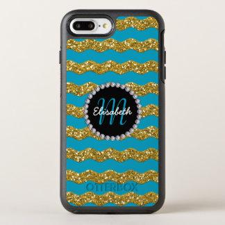 Coque Otterbox Symmetry Pour iPhone 7 Plus Or et scintillement bleu, diamant, Girly, décoré