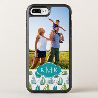Coque Otterbox Symmetry Pour iPhone 7 Plus Voiliers sur le monogramme du motif | de l'eau