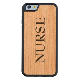 Coque Pare-chocs En Cerisier iPhone 6 Cas en bois de téléphone d'infirmière