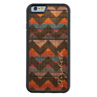 Coque Pare-chocs En Cerisier iPhone 6 Chevron coloré en bois barre #20