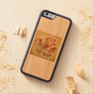 Coque Pare-chocs En Cerisier iPhone 6 La fleur vintage de la sérénité - édition en bois