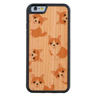Coque Pare-chocs En Cerisier iPhone 6 Le corgi mignon poursuit la caisse en bois de