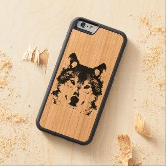 Coque Pare-chocs En Cerisier iPhone 6 Loup noir d'illustration