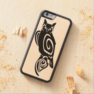 Coque Pare-chocs En Érable iPhone 6 Grand hibou à cornes sage tribal