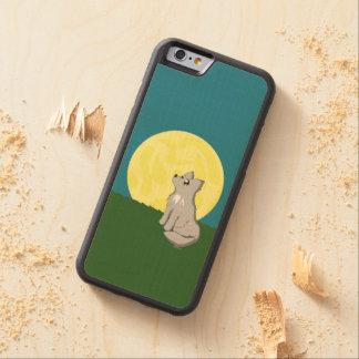 Coque Pare-chocs En Érable iPhone 6 Loup délabré mignon avec la lune