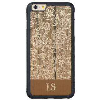 Coque Pare-chocs Mince En Érable iPhone 6 Plus Chocolat et Paisley blanc