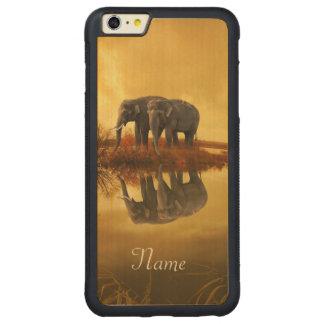 Coque Pare-chocs Mince En Érable iPhone 6 Plus Coucher du soleil d'éléphants