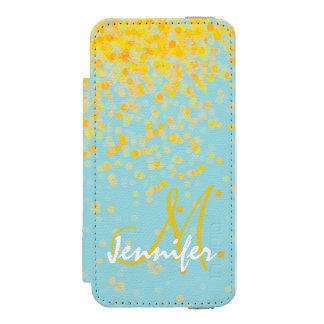 Coque-portefeuille iPhone 5 Incipio Watson™ Nom jaune d'or Girly d'ombre de turquoise de