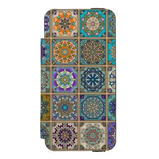Coque-portefeuille iPhone 5 Incipio Watson™ Patchwork vintage avec les éléments floraux de