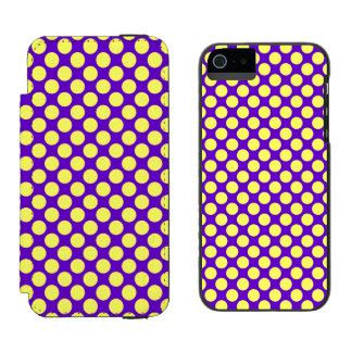 Coque-portefeuille iPhone 5 Incipio Watson™ Pois jaune avec l'arrière - plan pourpre STaylor