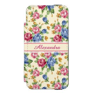 Coque-portefeuille iPhone 5 Incipio Watson™ Rose romantique en pastel de fleur, rouge, nom