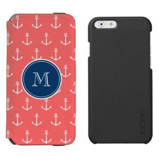 Coque-portefeuille iPhone 6 Incipio Watson™ Ancres blanches de corail motif, monogramme de