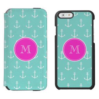 Coque-portefeuille iPhone 6 Incipio Watson™ Ancres blanches vertes en bon état, monogramme de