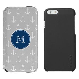 Coque-portefeuille iPhone 6 Incipio Watson™ Ancres motif, monogramme de blanc gris de bleu