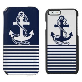 Coque-portefeuille iPhone 6 Incipio Watson™ Caisse bleue/blanche nautique de portefeuille de