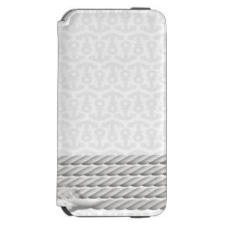 Coque-portefeuille iPhone 6 Incipio Watson™ Conception nautique blanche d'ancre avec la corde