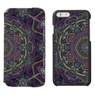 Coque-portefeuille iPhone 6 Incipio Watson™ Étoiles sacrées et dentelle de mandala pourpres et