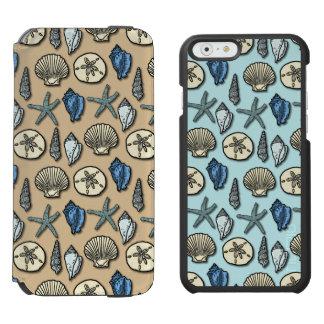 Coque-portefeuille iPhone 6 Incipio Watson™ Joli motif de mer d'étoiles de mer de Shell en