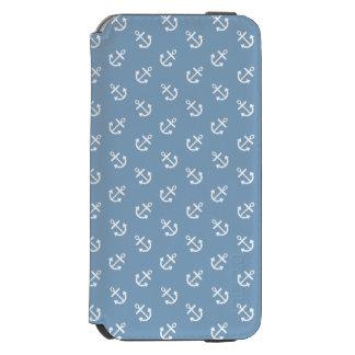 Coque-portefeuille iPhone 6 Incipio Watson™ Le blanc ancre le motif bleu d'arrière - plan de