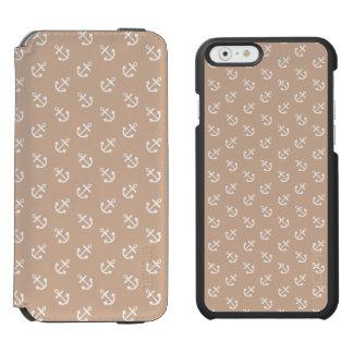 Coque-portefeuille iPhone 6 Incipio Watson™ Le blanc ancre le motif d'arrière - plan d'amande