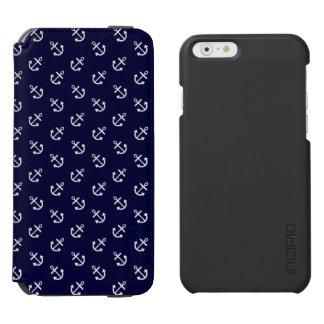 Coque-portefeuille iPhone 6 Incipio Watson™ Le blanc ancre le motif d'arrière - plan de bleu