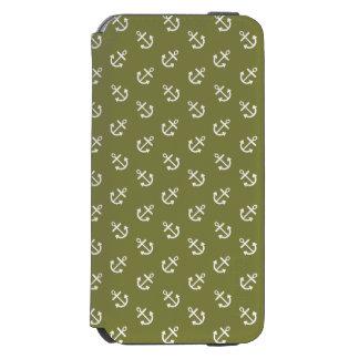 Coque-portefeuille iPhone 6 Incipio Watson™ Le blanc ancre le motif de vert de chèvrefeuille