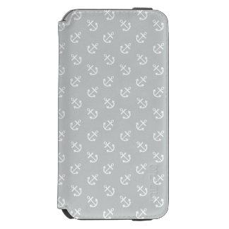Coque-portefeuille iPhone 6 Incipio Watson™ Le blanc ancre le motif gris d'arrière - plan de