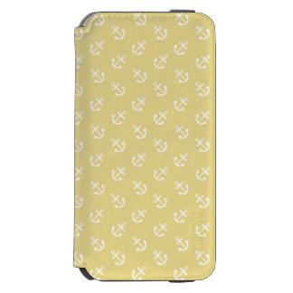 Coque-portefeuille iPhone 6 Incipio Watson™ Le blanc ancre le motif jaune d'arrière - plan de