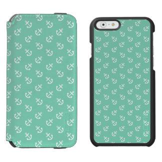 Coque-portefeuille iPhone 6 Incipio Watson™ Le blanc ancre le motif vert d'arrière - plan de