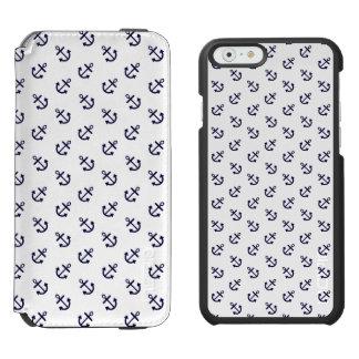 Coque-portefeuille iPhone 6 Incipio Watson™ Le bleu marine ancre le motif blanc d'arrière -