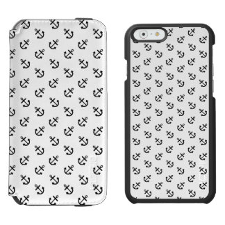 Coque-portefeuille iPhone 6 Incipio Watson™ Le noir ancre le motif blanc d'arrière - plan