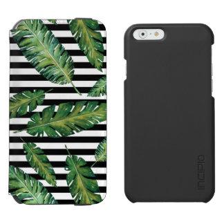 Coque-portefeuille iPhone 6 Incipio Watson™ Le noir barre le motif tropical d'été de feuille