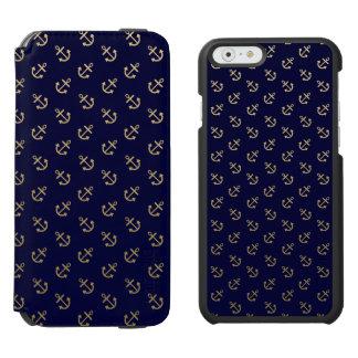 Coque-portefeuille iPhone 6 Incipio Watson™ L'or ancre le motif d'arrière - plan de bleu